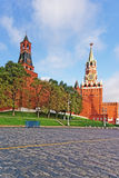Three towers of Moscow Kremlin and Red Square Stock Photos