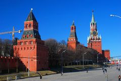 Three towers of Moscow Kremlin in a sunny day. Royalty Free Stock Photo