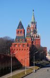 Three towers of Moscow Kremlin in a sunny day. Royalty Free Stock Image