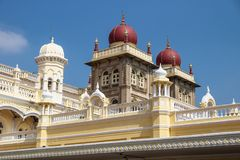 Towers of Mysore Palace with red domes, Mysore, India Royalty Free Stock Photo