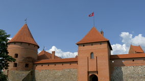 Three towers of the old castle from Trakai GH4 4K UHD Royalty Free Stock Image