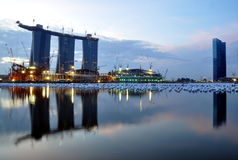 The Three Towers, and One. An early morning shot of the Marina Bay Sands Hotel where construction works are running full blast Royalty Free Stock Images