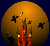Three towers spirit on halloween. Royalty Free Stock Photography
