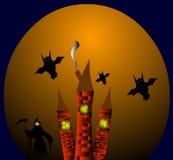 Three towers spirit on halloween. Royalty Free Stock Photography