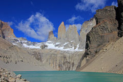 The three towers at Torres del Paine National Park, Patagonia, Chile. View from Mirador de Las Torres Royalty Free Stock Image