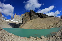 The three towers at Torres del Paine National Park, Patagonia, Chile. View from Mirador de Las Torres Stock Photos