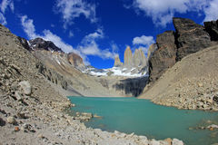 The three towers at Torres del Paine National Park, Patagonia, Chile. View from Mirador de Las Torres Royalty Free Stock Photography