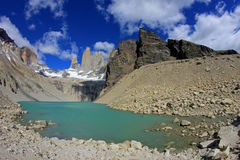 The three towers at Torres del Paine National Park, Patagonia, Chile. View from Mirador de Las Torres Stock Image