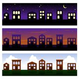 Three townhouse banners Royalty Free Stock Photography