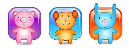 Three toy animals. Animals. vector illustration, whight bacground Royalty Free Stock Photography
