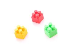 Three toy building bricks isolated Royalty Free Stock Photos