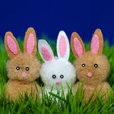 Three toy bunnies Stock Photos