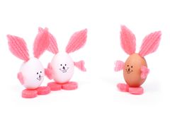 Three toy Easter rabbit made of egg shell Royalty Free Stock Images