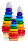 Three toy pyramid from wooden rings Stock Photos