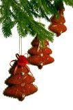Three Toy Red New Year Trees On Fir-tree Stock Photo