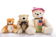 Three toy teddy bears. Isolated on white Royalty Free Stock Image