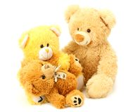 Three toy teddy bears isolated on white background royalty free stock image