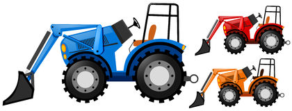 Three tractors in three colors Royalty Free Stock Photos