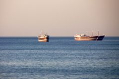 Traditional omani ships in Khasab Oman Stock Photos
