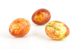 Three traditional painted Easter eggs on the bright background Stock Photography
