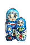 Three traditional Russian matryoshka dolls. Painted matryoshka. Matryoshka, blue color Stock Photos