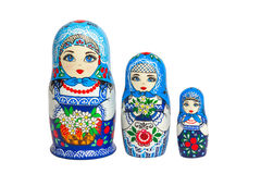Three traditional Russian matryoshka dolls Royalty Free Stock Photo