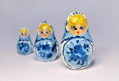 Three Traditional Russian Wood Dolls Stock Image