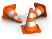 Three traffic cones Stock Photo