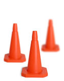 Three traffic cones. Isolated with different focus Stock Images