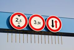 Three traffic signs Royalty Free Stock Photos