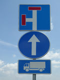 Three traffic signs - dead end, one way, truck Stock Photo