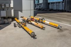 Three trailers drove for the aircraft, push back the cart tow tracktor. Three trailers drove for the aircraft, push back the cart tow tracktor royalty free stock image