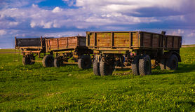Three trailers. Trailers that are used to do farming Royalty Free Stock Photo