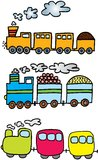 Three trains. With load on white background. illustration Stock Photos