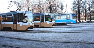 Three trams Royalty Free Stock Photo
