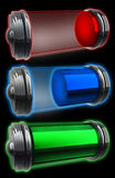 Three transparent batteries Stock Photos