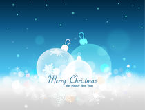 A Blue Christmas background, with transparent christmas balls decorated with snowflakes lying on the snow. Christmas and New Year vector blue background with Royalty Free Stock Photos