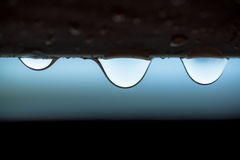 Three transparent water drops Stock Photography