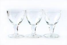 Three transparent wine glasses Stock Photography