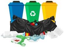Three trash cans and trash bags. Illustration stock illustration