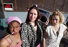 Three Trashy Women Royalty Free Stock Image
