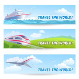 Three travel banners with transports Royalty Free Stock Photos
