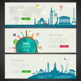 Three Travel and Tourism Headers, Banners with famous Landmarks. Vector. Illustration Stock Images