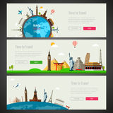 Three Travel and Tourism Headers, Banners with famous Landmarks. Vector Stock Photo