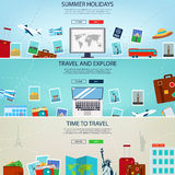 Three Travel and Tourism Headers, Banners. Summer holidays, travel and tourism concept. Website templates. Vector Stock Image