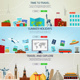 Three Travel and Tourism Headers, Banners. Summer holidays, travel and tourism concept. Website templates. Vector Stock Photo