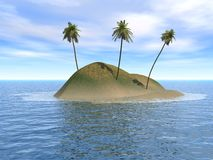 Three Tree Island. Deserted Island with 3 coconut trees Stock Photo