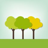Three trees on the field. Green three trees on the field Stock Image