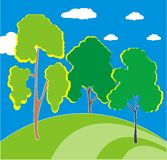 Three trees on the hill. Three trees on green hill - illustration image Royalty Free Stock Photo