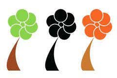 Three trees vector set - ecology concept Royalty Free Stock Images